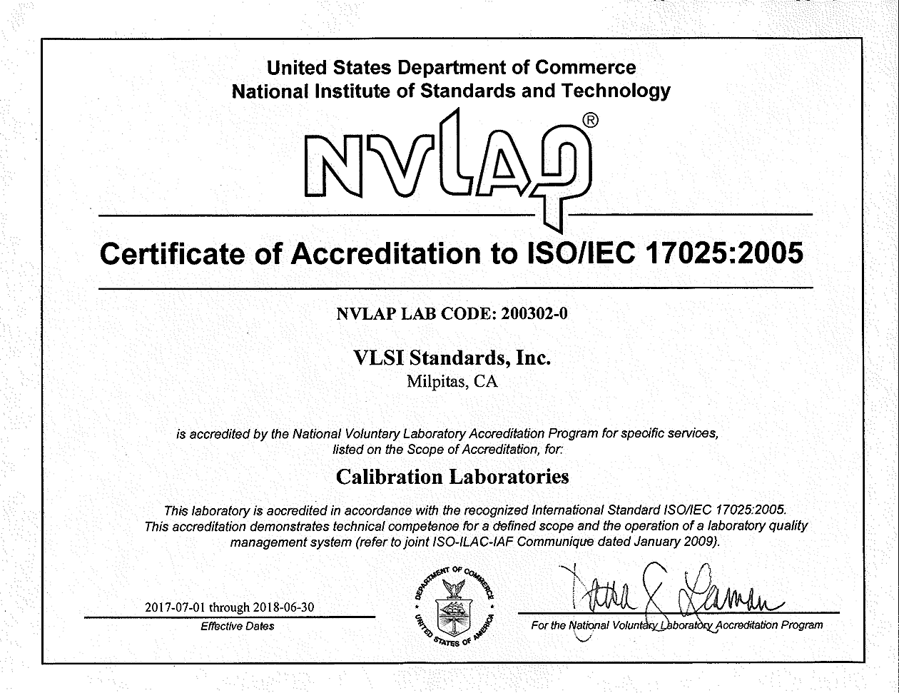 Iso and nvlap certification vlsi quality vlsi nvlap certificate of accreditation to isoiec 170252005 lab code 200302 0 falaconquin